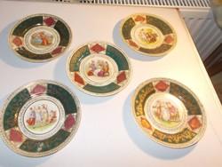 5 db gyönyörü Altwien porcelán kis tányér