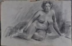 Ismeretlen művész: Női akt, szénrajz