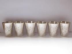6 darab régi kínai ezüst pohár.