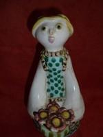 Iparművészeti kerámia virág árus lány figura