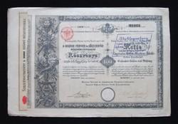 Magyar Fegyver- és Lőszergyár részvény 100 forint 1888 / Fegyver és Gépgyár - FÉG elődje
