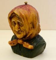 Gyertya, öreg néni fej, 14 cm magas