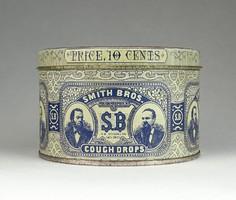 0R983 Antik Smith Bros amerikai cukorkás pléhdoboz