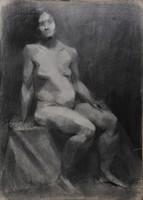 Ismeretlen művész: Ülő női akt, tanulmány,