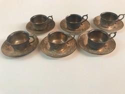 Antik keleti ezüstözött jelzett espresso készlet