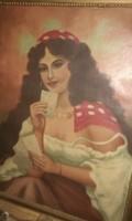 Bánáti jelzett antik olaj vászon nagy méretű festmény
