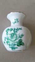 Herendi porcelán zöld virágos mini váza 6.5 cm