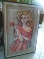 """Pálfy Julianna """"Lady in red"""" pasztell képe"""