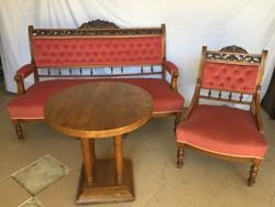 Ónémet, antik Jugend stílusú bársony kanapé, 5db szék, asztal (szófa, karosszék, rózsaszín garnitúra