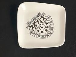 """Aquincumi porcelán """"Budapest Universiade 1965"""" feliratú tálka, jelzett, 12x12 cm"""