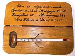 Antik francia borhőmérő, saját fa dobozában