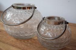 Ritka NAGY Vintage üveg Art deco  gömb tároló jégtartó mécsestartó pár