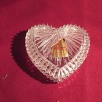 135. Szív alakú kristály üveg ékszertartó 7 cm