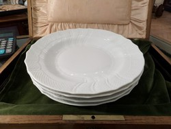 4 db fehér / festetlen herendi mély / leveses tányér ROCAILLE