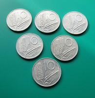 ALU 10 Lire (Spighe) sor -6 db- 1951-52-53-54, 1956, 1972