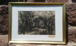 REMSEY: Rézkarc, falc 30,5x44,5 cm, modern aranyos, antikizált képkeret, Tanyasi tájkép