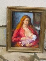 Eladó P. Bak János: Anya kisdejével című olaj, fa festménye