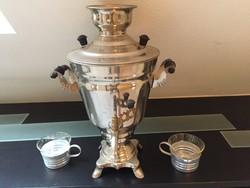 Szamovár  pohártartóval üvegcsészével