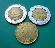 3 db Olasz Lira -500 ₤ 1986 + 500 ₤1998 -20 years IFAD + 200 ₤ 1979