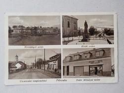 Piliscsaba - Utcarészlet , Klotidligeti zárda , Hősök szobra , Fodor Mihályné üzlete