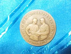 Régi bronz plakett a szocializmusból községfejlesztésért