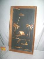 Retro szalmakép keretben, üveg alatt