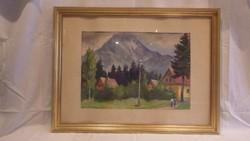 Szilágyi Ilona akvarell festmény : Tátra Lomnici táj