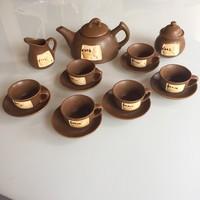 Egyedi kerámia espresso barna kávés készlet (6 fős csésze, teás kanna stb.)