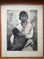 Ék Sándor (1902-1975): Anya gyermekével rézkarc