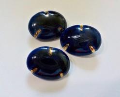 3 db. kék mázas kerámia gomb