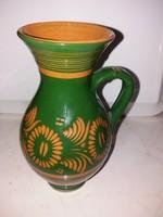 Régi cserép mázas köcsög,váza