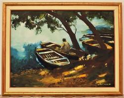 Kovács Tamás Vilmos (1951-) Horgász c. képcsarnokos festménye 91x71cm EREDETI GARANCIÁVAL !!