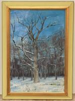 Németh Zsuzsa ( 1951-) Tél c. képcsarnokos festménye EREDETI GARANCIÁVAL !!