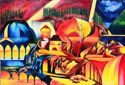 Óriás olaj vászon festmény , Petre No.1,  195x130 cm