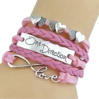 One Direction Ötsoros Bőr Szív Love Rózsaszín Karkötő