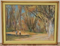 Zirkelbach László ( 1916-) Fűzfák alatt c. képcsarnokos festménye 92x72cm EREDETI GARANCIÁVAL !!