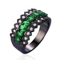 10K Black Gold Filled, 925-s ezüst smaragd és CZ köves gyűrű