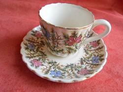 Antik sarreguemines fajansz kávés csésze + alj Párisi Nagy Árúház feliratos