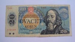20 cseh korona - /DVACET KORUN/ - 1988-as kiadású.(hajtott,ép szélű)