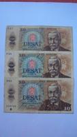 3 darab,10 cseh korona - /DESAT KORUN/ - 1986-os kiadású. (hajtott,ép szélű)