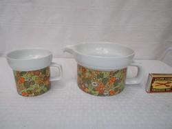 Kanna és bögre JELZETT - Német porcelán kanna fél liter  - bögre két deci kedves őszi színekkel