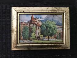 Kisméretű kép fa keretben 18.5×13.5cm szép.