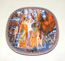 Jelzett porcelán falitányér