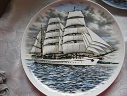 Ritkaság! 3 db-os Kaiser vitorlás hajó tányér gyűjtemény feng shui kelléknek is