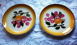 Hollóházi antik gyümölcsös falitányér pár