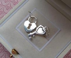 Szív és kulcs ezüst medál - törhető - szimbólum - szivecske  új