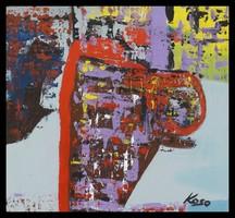 """""""Kompozició""""Koso festmény  88 x 80 cm keretes akció"""