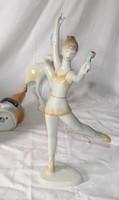 HOLLÓHÁZI porcelán táncoló lány virággal