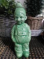 Antik zöld mázas kerámia -figurális palack
