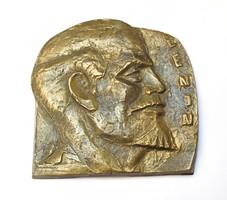 Nagyméretű réz Lenin plakett/falidísz, 1,55 kg.
